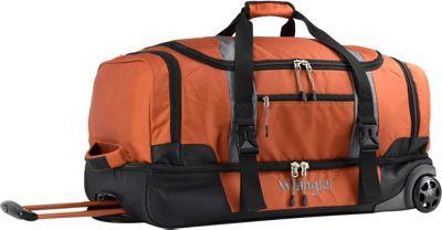 Wrangler 28 inch 2-Section Drop Bottom Rolling Duffel Burnt Orange - Wrangler Travel Duffels