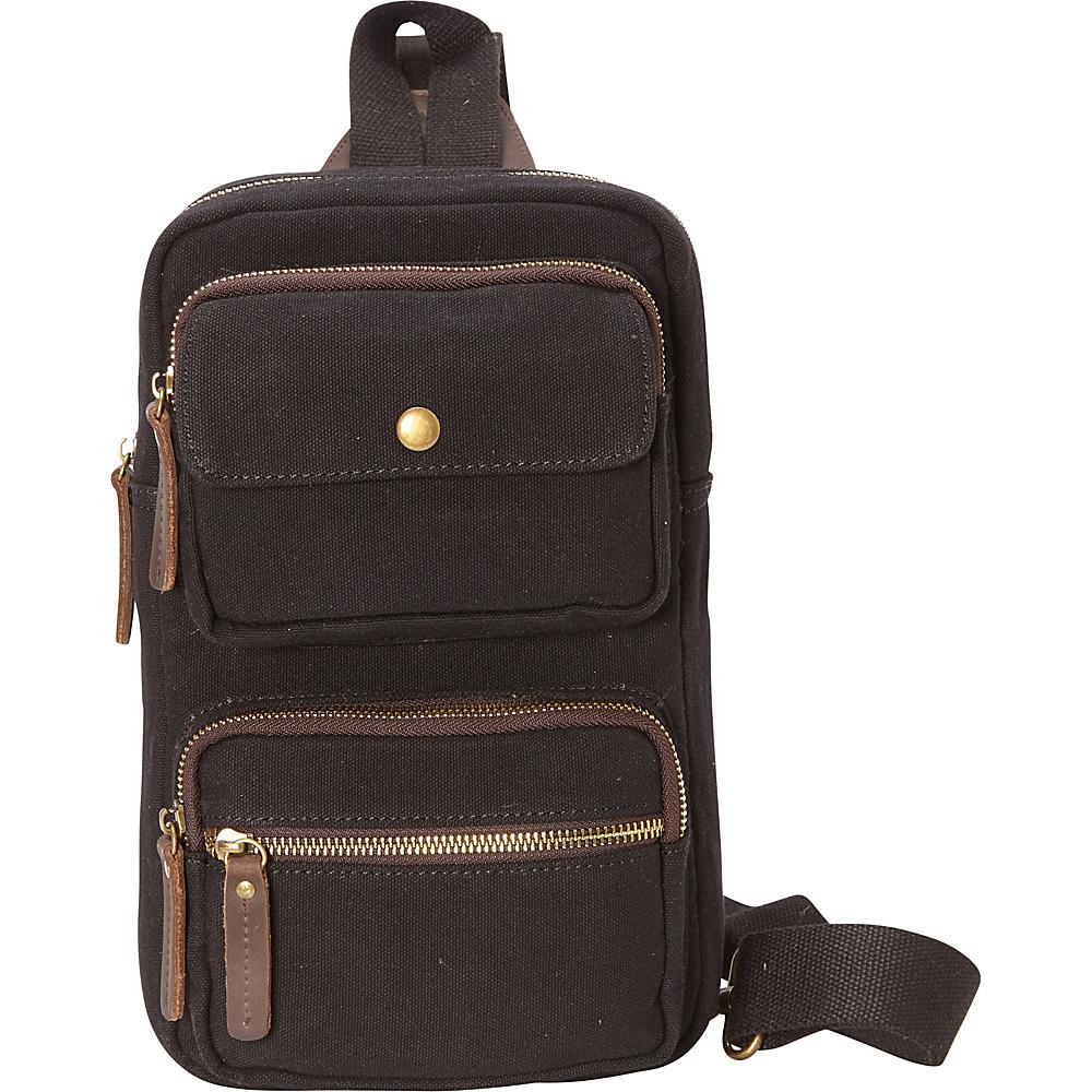 Vagabond Traveler Cotton Canvas Chest Pack Travel Bag Black - Vagabond Traveler Slings - Backpacks, Slings