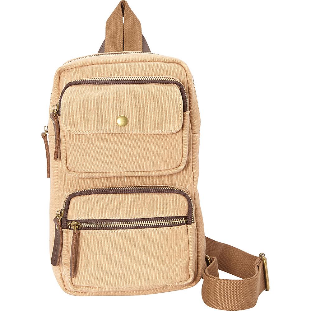 Vagabond Traveler Cotton Canvas Chest Pack Travel Bag Khaki - Vagabond Traveler Slings - Backpacks, Slings