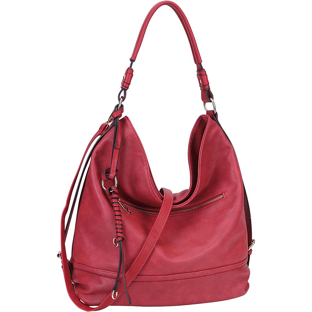 Dasein Large Vintage Convertible Hobo Burgundy - Dasein Manmade Handbags - Handbags, Manmade Handbags