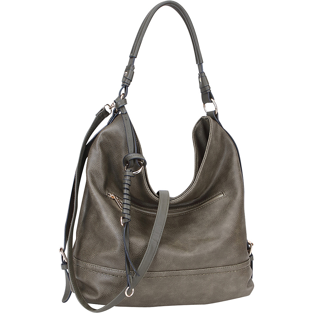 Dasein Large Vintage Convertible Hobo Army Green - Dasein Manmade Handbags - Handbags, Manmade Handbags