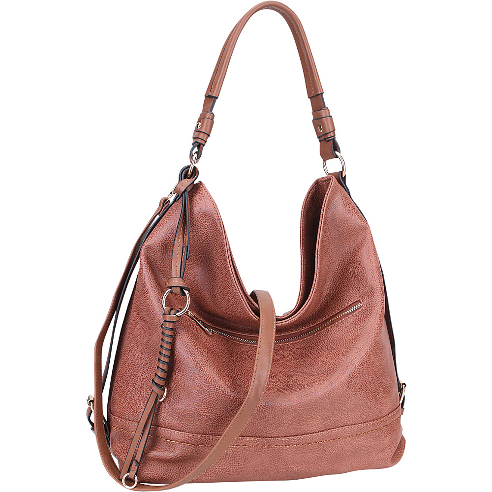 Dasein Large Vintage Convertible Hobo Brown - Dasein Manmade Handbags - Handbags, Manmade Handbags