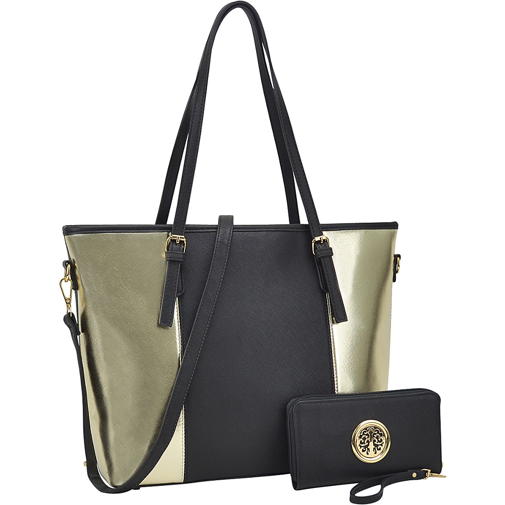 Dasein Large Classic Two Tone Tote with Free Matching Wallet Black/Gold - Dasein Manmade Handbags - Handbags, Manmade Handbags