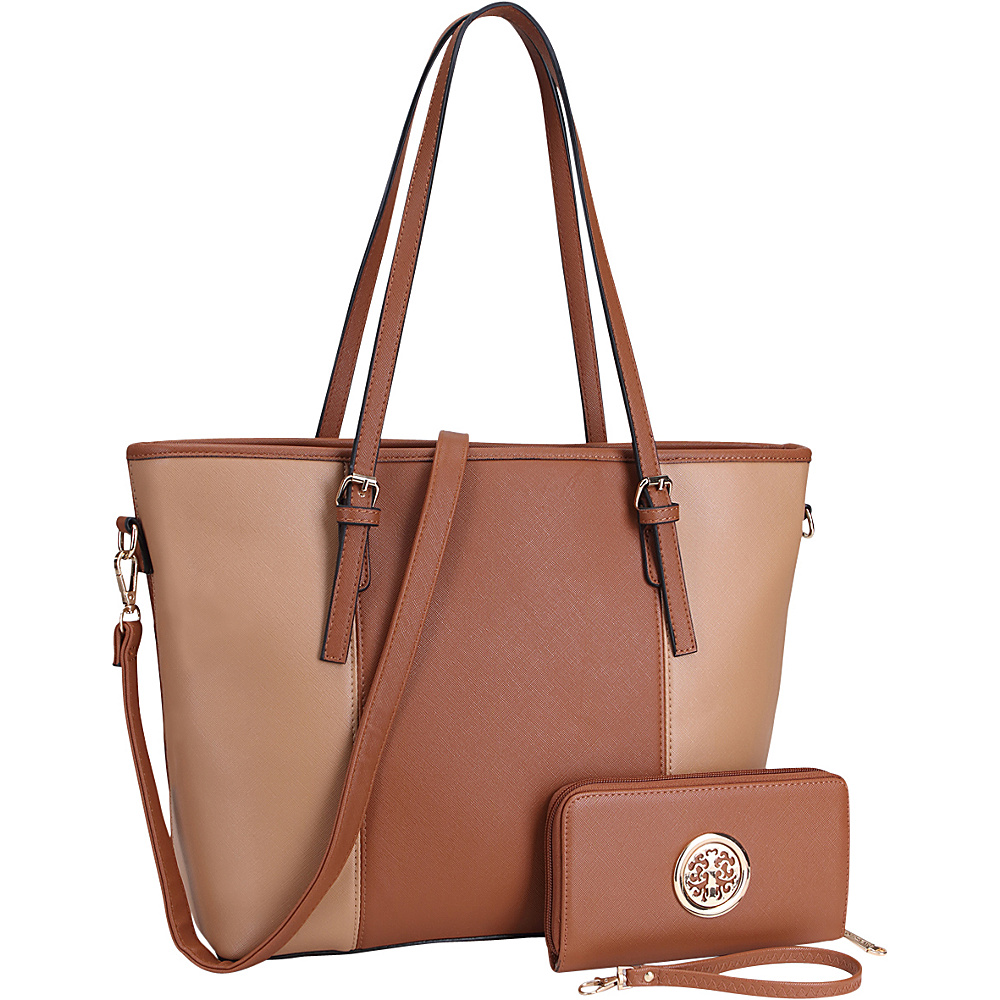 Dasein Large Classic Two Tone Tote with Free Matching Wallet Brown/Beige - Dasein Manmade Handbags - Handbags, Manmade Handbags