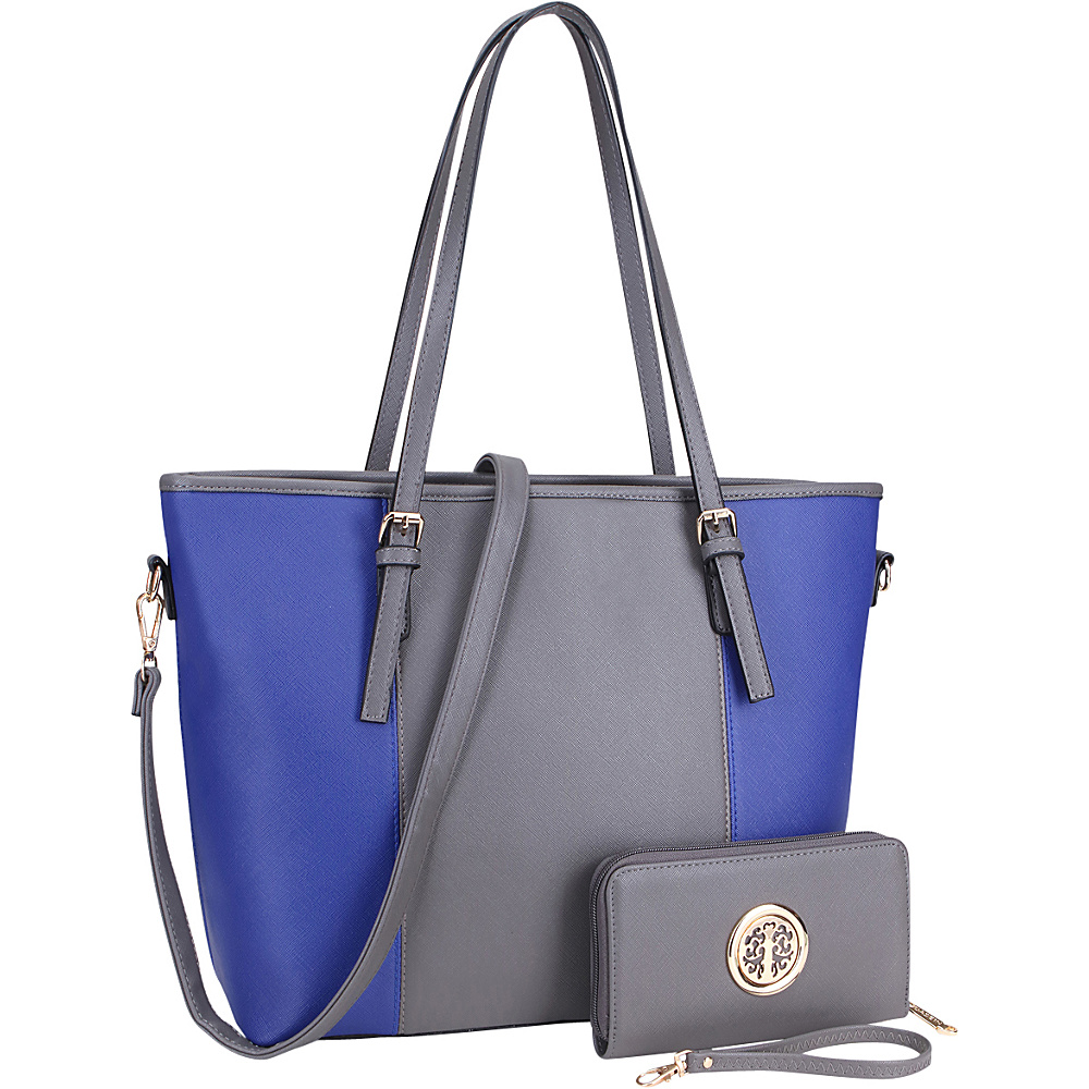 Dasein Large Classic Two Tone Tote with Free Matching Wallet Grey/Blue - Dasein Manmade Handbags - Handbags, Manmade Handbags