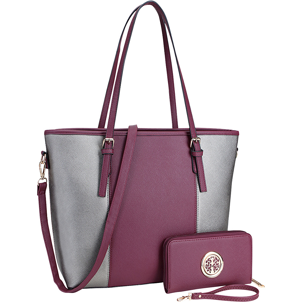 Dasein Large Classic Two Tone Tote with Free Matching Wallet Purple/ Pewter - Dasein Manmade Handbags - Handbags, Manmade Handbags