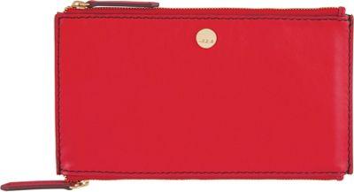 Lodis Downtown RFID Lani Double Zip Pouch Red/Chianti - Lodis Women's Wallets