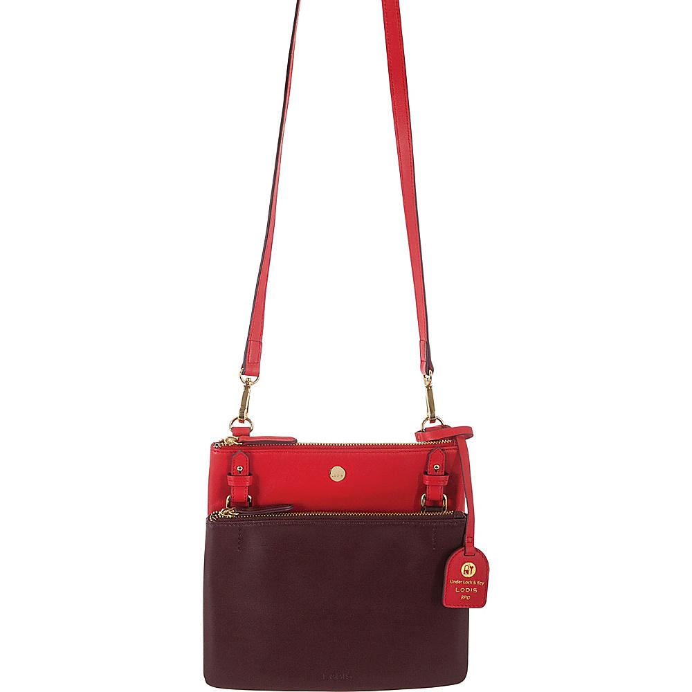 Lodis Downtown RFID Latisha Crossbody Red/Chianti - Lodis Leather Handbags - Handbags, Leather Handbags
