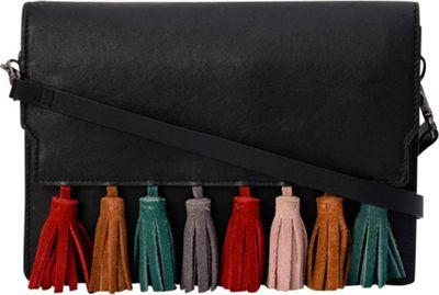 Phive Rivers Flapover Multi-Color Tassel Crossbody Black - Phive Rivers Leather Handbags