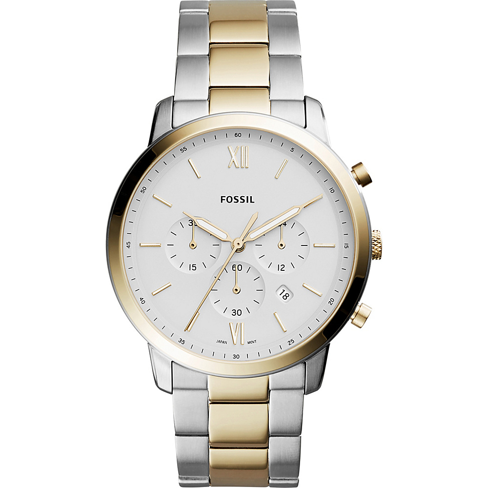 Fossil Neutra Chronograph Two-Tone Stainless Steel Leather Watch Silver - Fossil Watches - Fashion Accessories, Watches