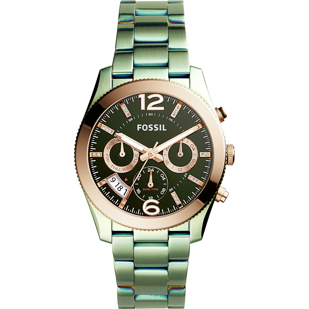 Fossil Perfect Boyfriend Multifunction Stainless Steel Watch Green - Fossil Watches - Fashion Accessories, Watches