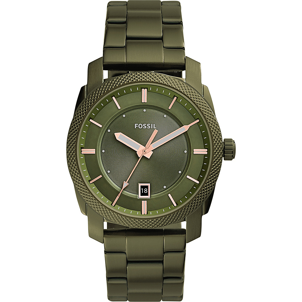 Fossil Machine Three-Hand Date Stainless Steel Watch Green - Fossil Watches - Fashion Accessories, Watches