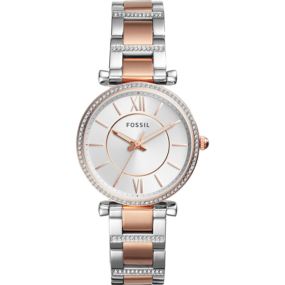 Fossil Carlie Three-Hand Two-Tone Stainless Steel Watch Silver - Fossil Watches - Fashion Accessories, Watches