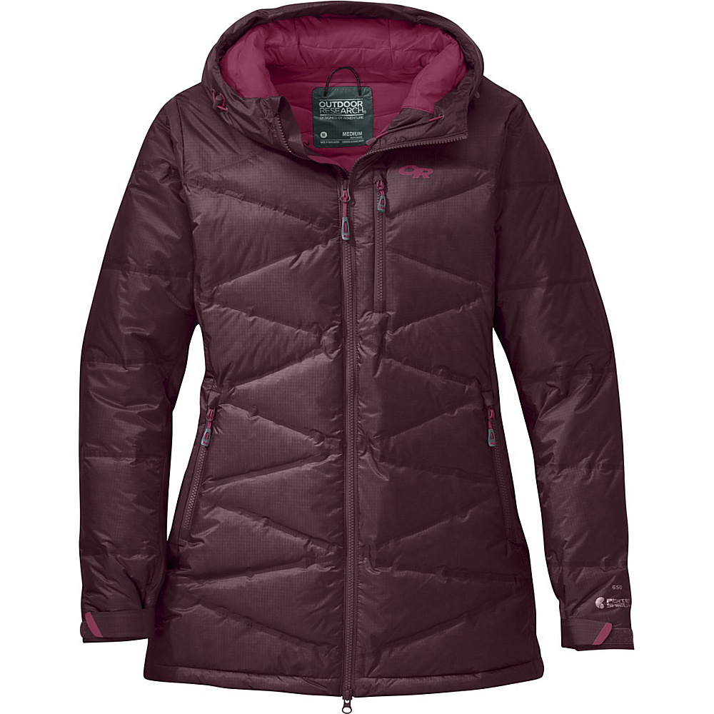 Outdoor Research Womens Floodlight Down Parka L - Pinot/Raspberry - Outdoor Research Womens Apparel - Apparel & Footwear, Women's Apparel