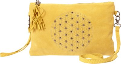 Sharo Leather Bags Studded Shoulder Bag with Tassel Yellow - Sharo Leather Bags Leather Handbags