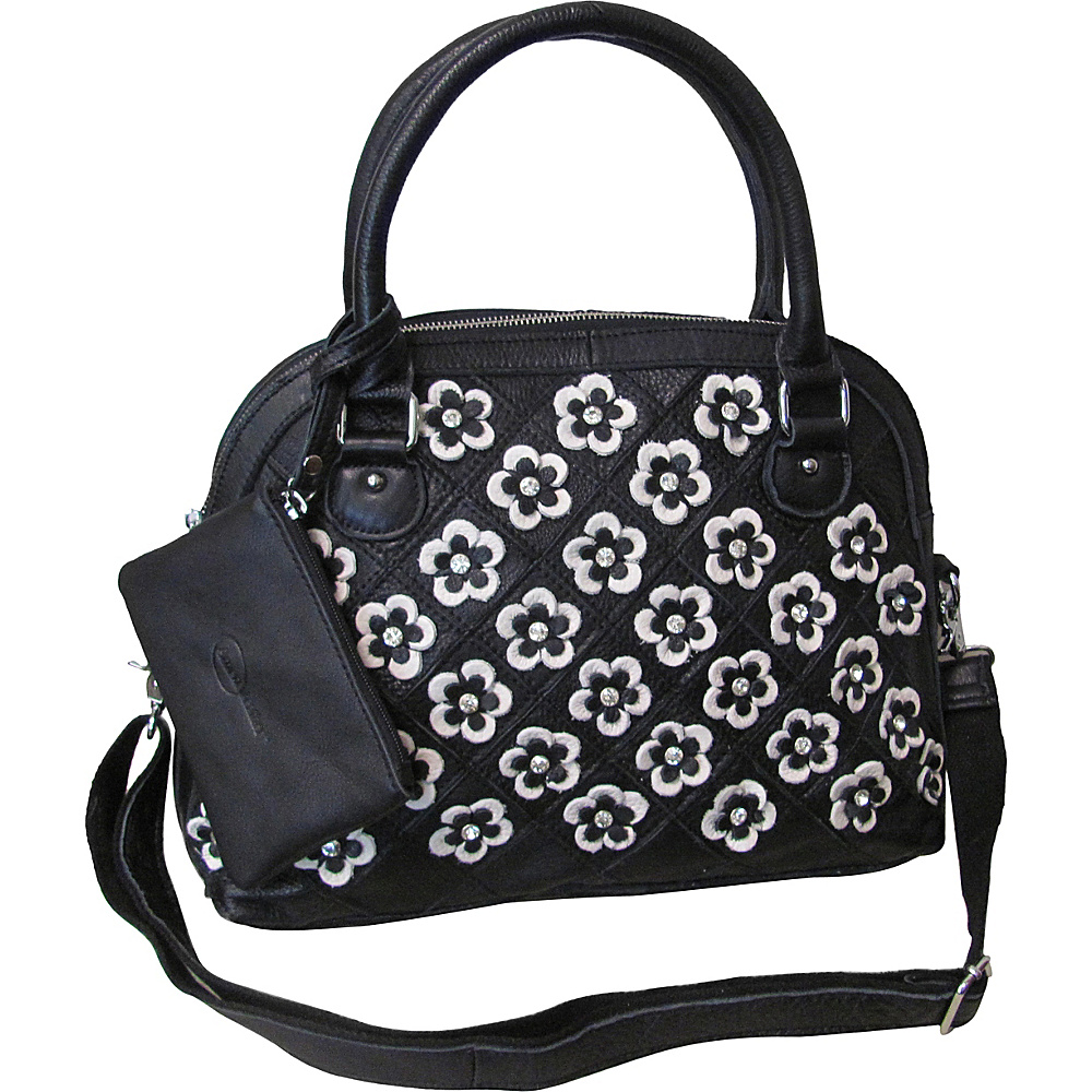 AmeriLeather Kenzer Leather Satchel Snow White/Black - AmeriLeather Leather Handbags - Handbags, Leather Handbags
