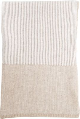 Kinross Cashmere Plaited Rib Scarf Fawn/Ivory - Kinross Cashmere Hats/Gloves/Scarves 10622476