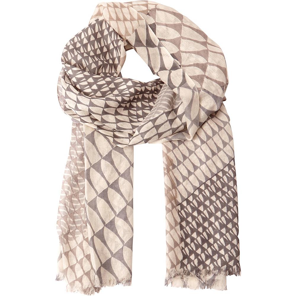 Kinross Cashmere Wave Geo Print Scarf Sterling Multi - Kinross Cashmere Hats/Gloves/Scarves - Fashion Accessories, Hats/Gloves/Scarves