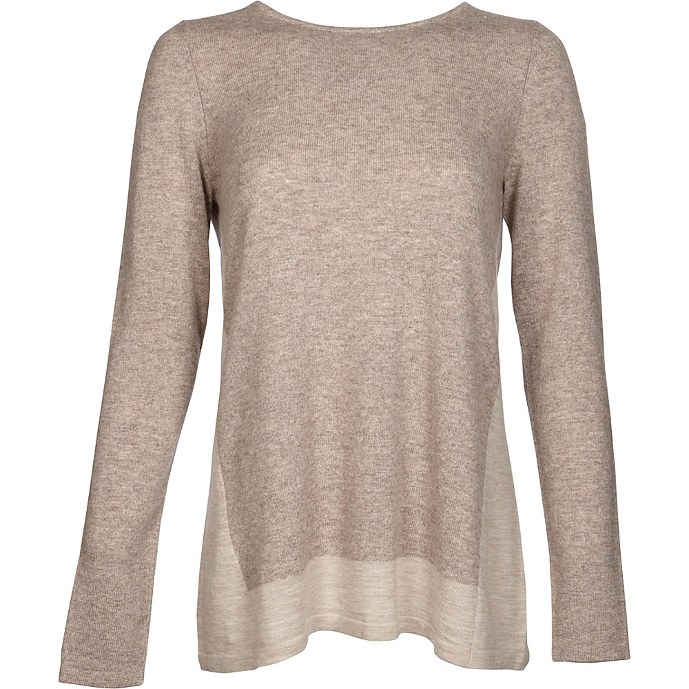 Kinross Cashmere Mixed Yarn Pullover XS - Antler/Fawn - Kinross Cashmere Womens Apparel - Apparel & Footwear, Women's Apparel