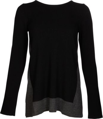Kinross Cashmere Mixed Yarn Pullover S - Black/Charcoal - Kinross Cashmere Women's Apparel 10622828