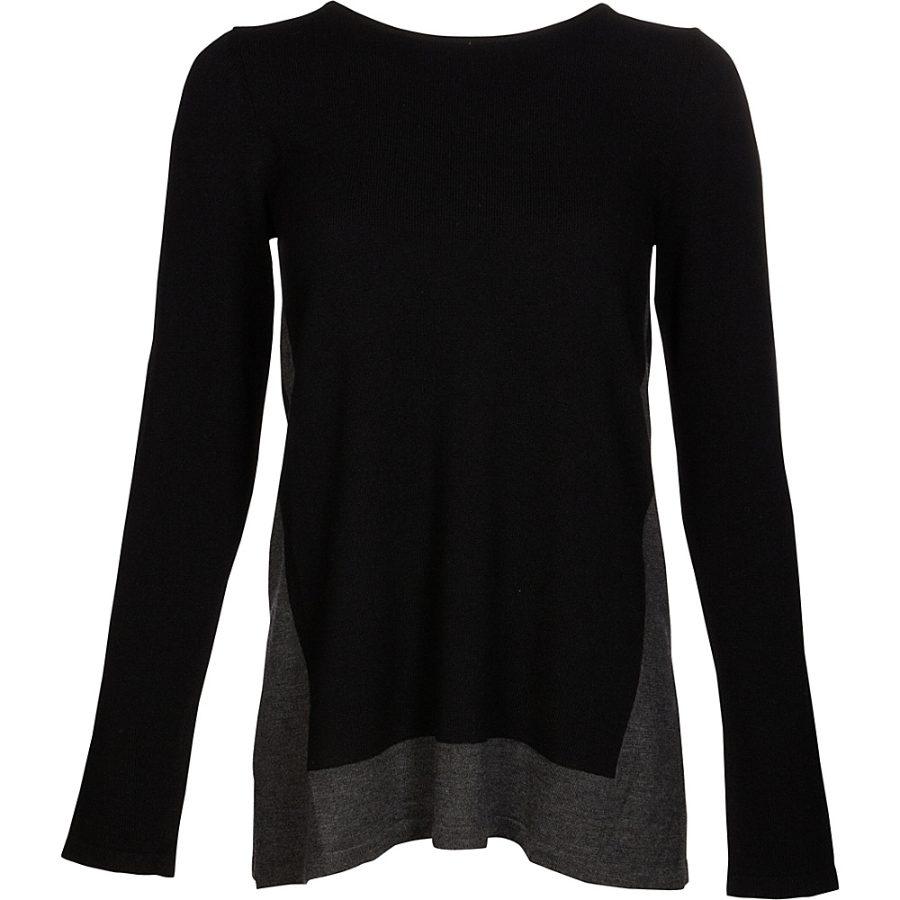 Kinross Cashmere Mixed Yarn Pullover S - Black/Charcoal - Kinross Cashmere Womens Apparel - Apparel & Footwear, Women's Apparel
