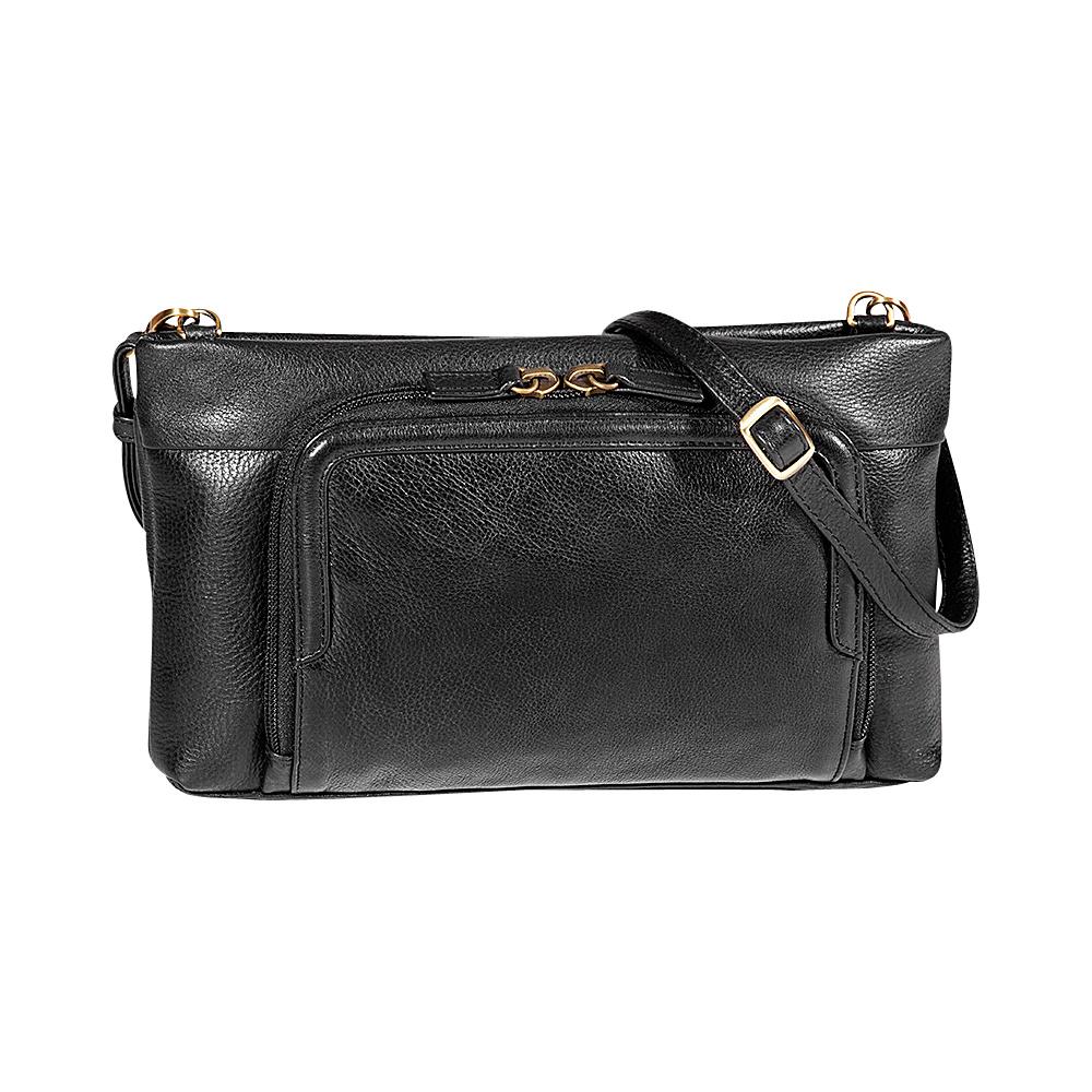 Derek Alexander EW Small Top Zip Crossbody Black - Derek Alexander Leather Handbags - Handbags, Leather Handbags