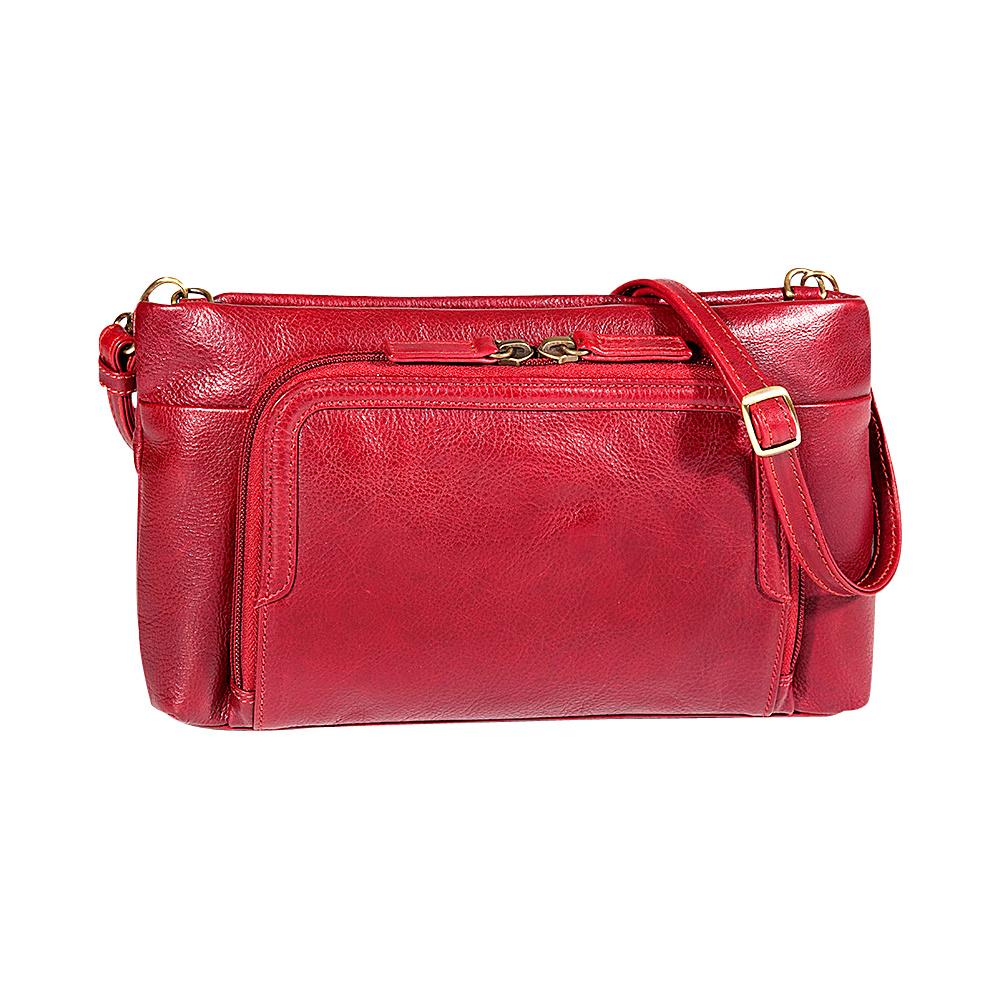 Derek Alexander EW Small Top Zip Crossbody Red - Derek Alexander Leather Handbags - Handbags, Leather Handbags
