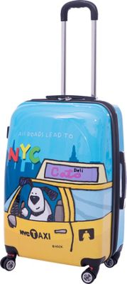 Ed Heck Luggage Riley 25 inch Expandable Hardside Checked Spinner Luggage Blue - Ed Heck Luggage Hardside Checked