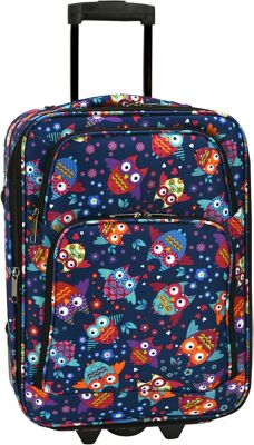 Elite Luggage Print 20 inch Expandable Carry-On Rolling Luggage Owls - Elite Luggage Softside Carry-On