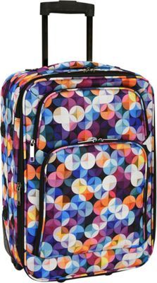 Elite Luggage Print 20 inch Expandable Carry-On Rolling Luggage Gem Bubbles - Elite Luggage Softside Carry-On