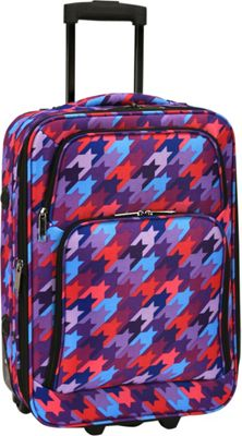 Elite Luggage Print 20 inch Expandable Carry-On Rolling Luggage Houndstooth - Elite Luggage Softside Carry-On