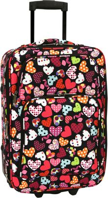 Elite Luggage Print 20 inch Expandable Carry-On Rolling Luggage Love Hearts - Elite Luggage Softside Carry-On