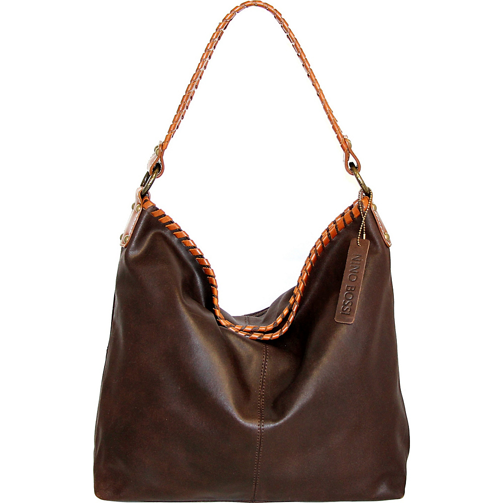 Nino Bossi Izzie Bucket Bag Chocolate - Nino Bossi Leather Handbags - Handbags, Leather Handbags
