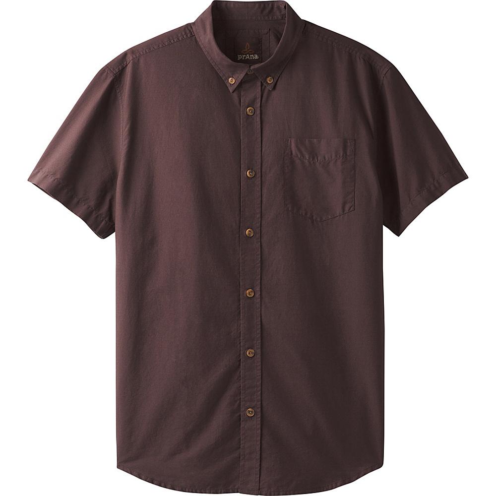 PrAna Broderick Texture Short Sleeve Shirt S - Acacia Brown - PrAna Mens Apparel - Apparel & Footwear, Men's Apparel