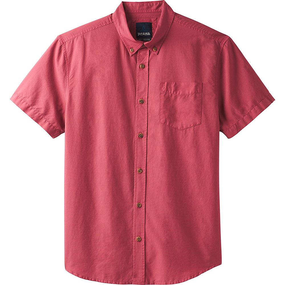 PrAna Broderick Texture Short Sleeve Shirt L - Crushed Cran - PrAna Mens Apparel - Apparel & Footwear, Men's Apparel