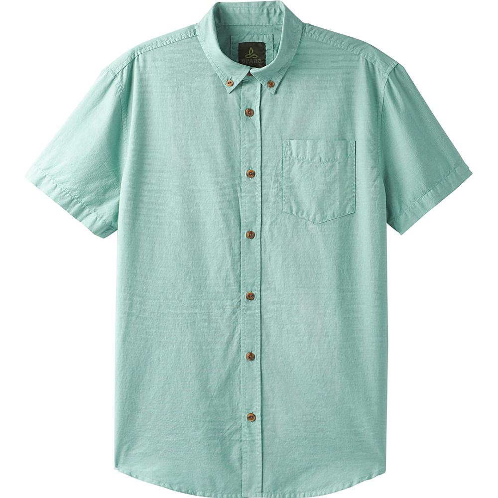 PrAna Broderick Texture Short Sleeve Shirt L - Seaside Grey - PrAna Mens Apparel - Apparel & Footwear, Men's Apparel