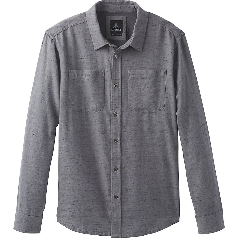 PrAna Trey Long Sleeve Flannel L - Gravel - PrAna Mens Apparel - Apparel & Footwear, Men's Apparel