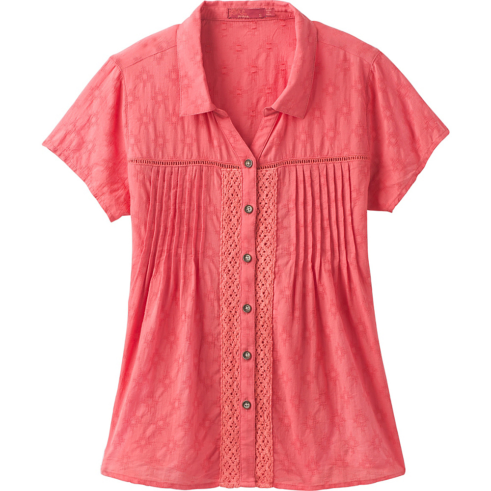 PrAna Katya Top S - Peach Gerberas - PrAna Womens Apparel - Apparel & Footwear, Women's Apparel