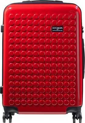 Dot Drops Chapter 2 25 inch Hardside Checked Spinner Luggage Red - Dot Drops Hardside Checked