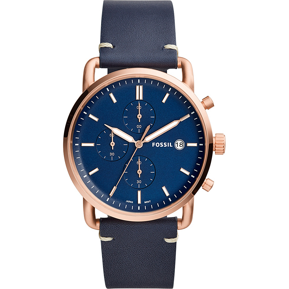 Fossil The Commuter Chronograph Navy Leather Watch Blue - Fossil Watches - Fashion Accessories, Watches