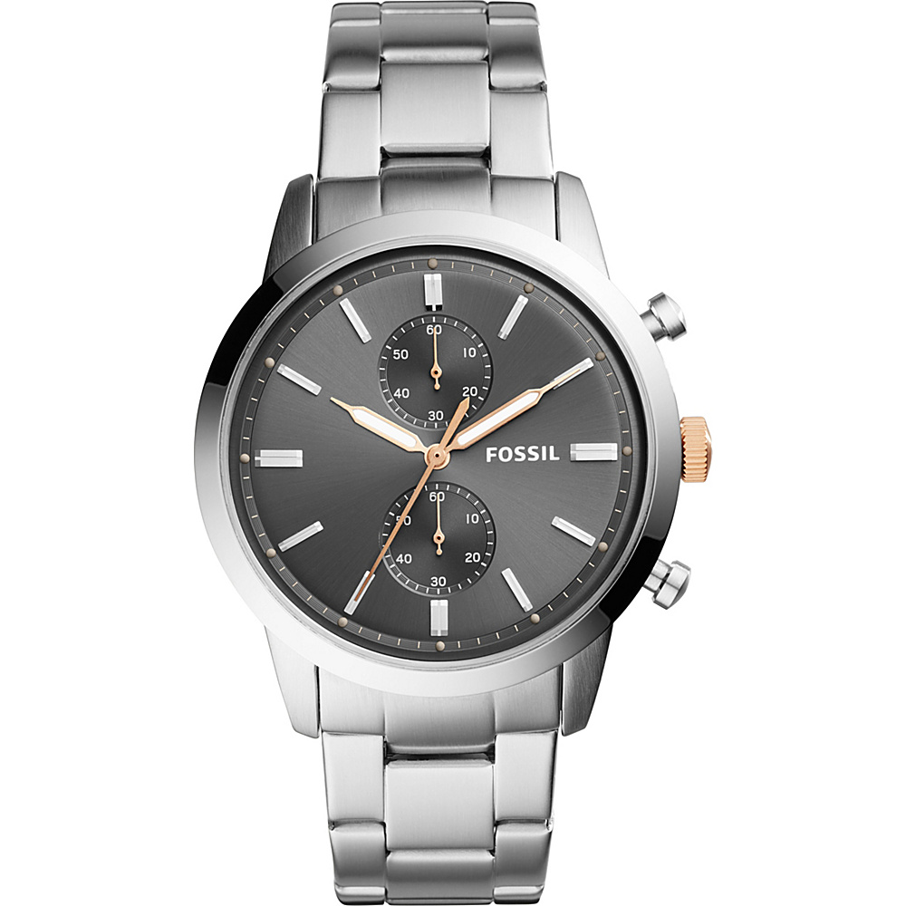 Fossil 44mm Townsman Chronograph Stainless Steel Watch Silver - Fossil Watches - Fashion Accessories, Watches
