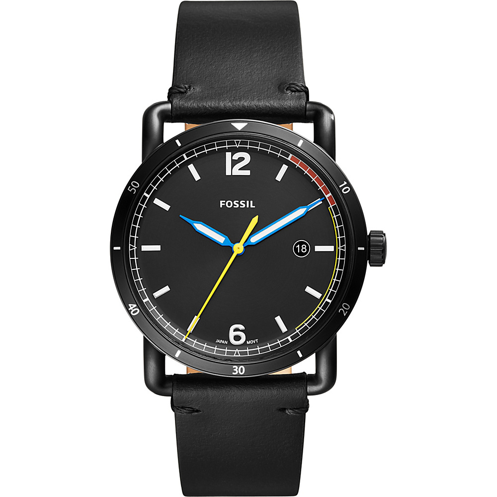 Fossil The Commuter Three-Hand Date Black Leather Watch Black - Fossil Watches - Fashion Accessories, Watches