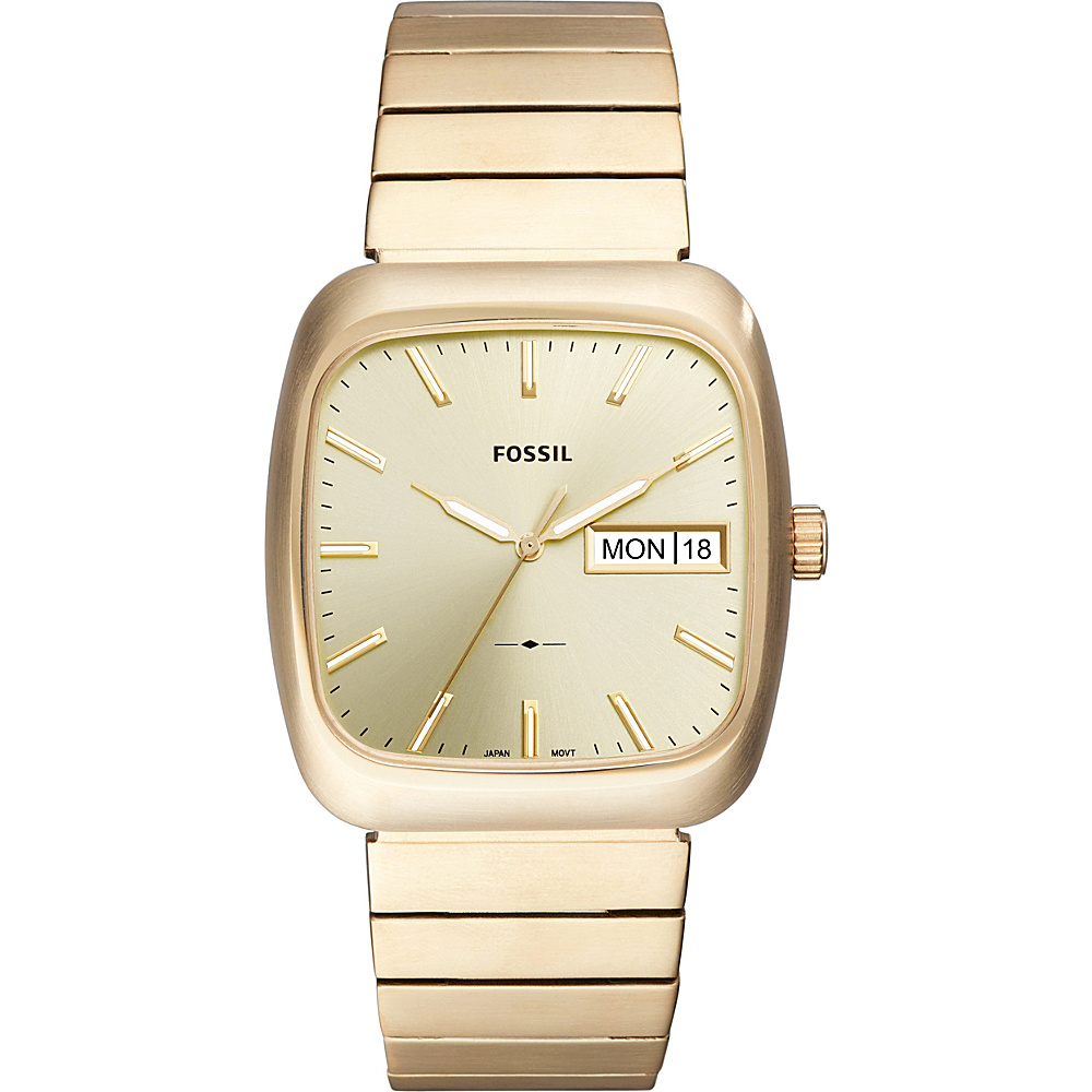 Fossil Rutherford Three-Hand Date Gold-Tone Stainless Steel Watch Gold - Fossil Watches - Fashion Accessories, Watches