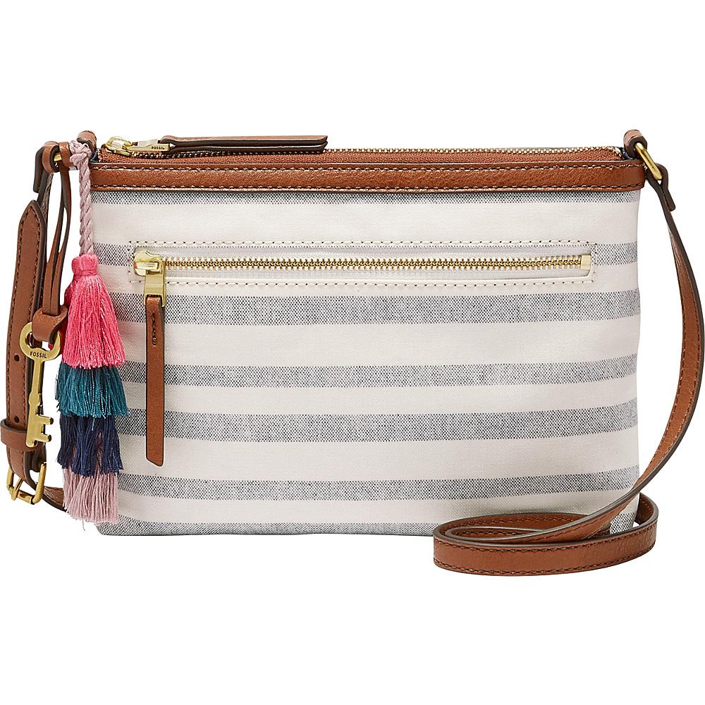 Fossil Fiona EW Crossbody Blue Stripe - Fossil Fabric Handbags - Handbags, Fabric Handbags