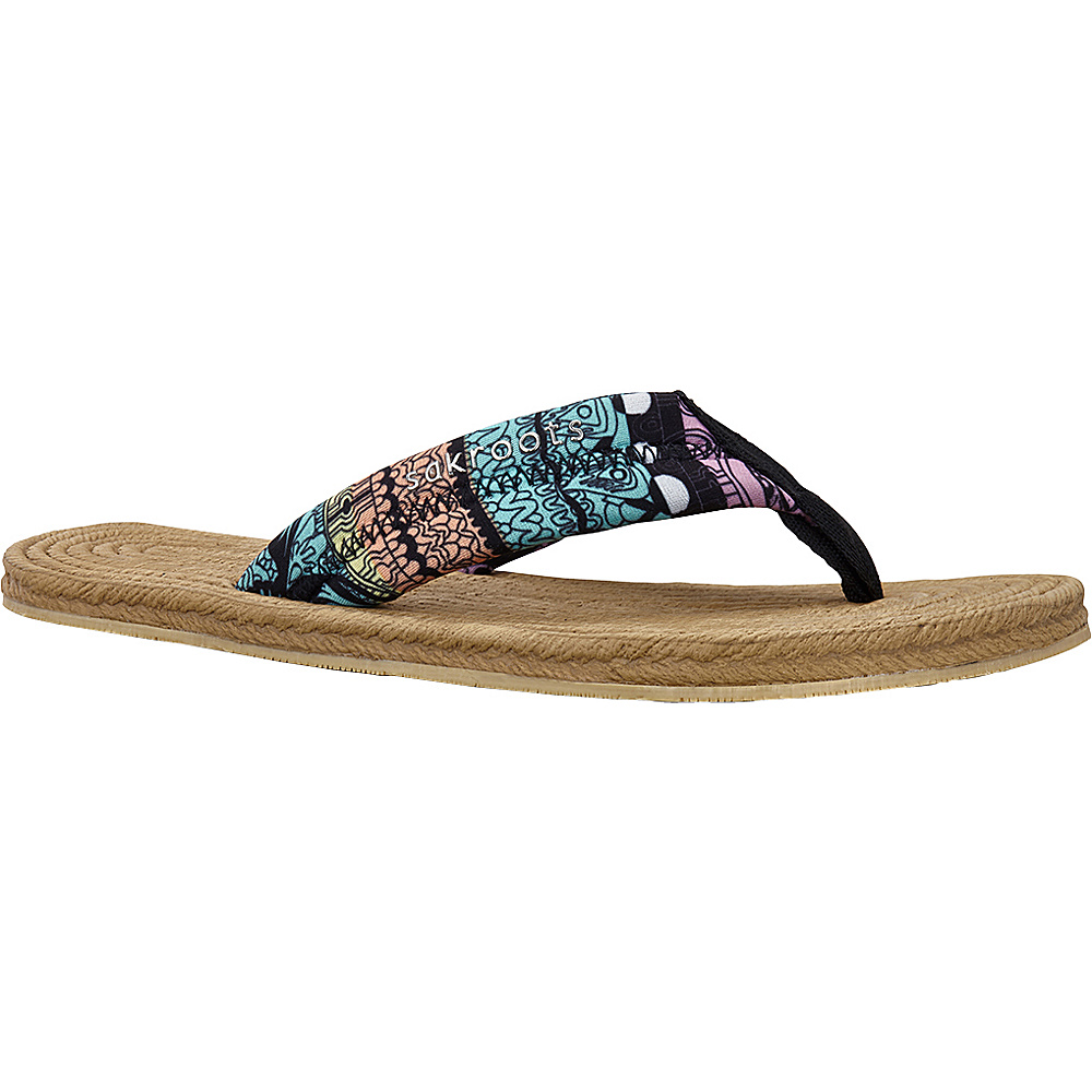 Sakroots Womens Elba Espadrille Sandal 9 - Sherbet One World - Sakroots Womens Footwear - Apparel & Footwear, Women's Footwear