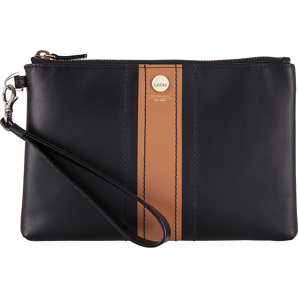 Lodis Rodeo Stripe RFID Koto Wristlet Pouch Black - Lodis Leather Handbags - Handbags, Leather Handbags