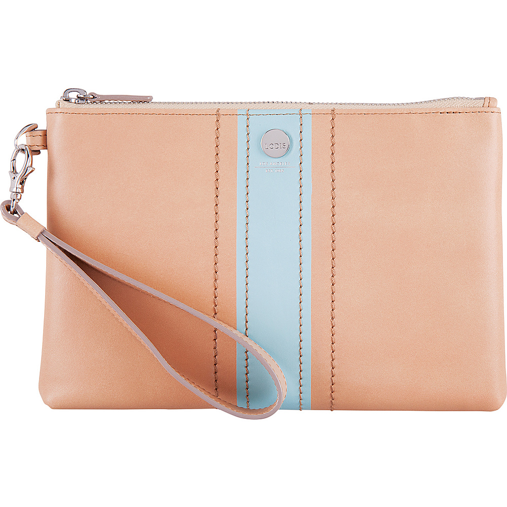 Lodis Rodeo Stripe RFID Koto Wristlet Pouch Beige - Lodis Leather Handbags - Handbags, Leather Handbags