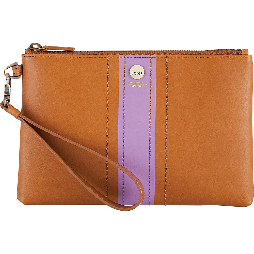 Lodis Rodeo Stripe RFID Koto Wristlet Pouch Toffee - Lodis Leather Handbags - Handbags, Leather Handbags