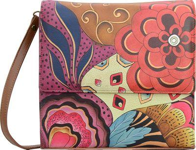 ANNA by Anuschka Hand Painted Flap Crossbody Organizer Tribal Potpourri - ANNA by Anuschka Leather Handbags