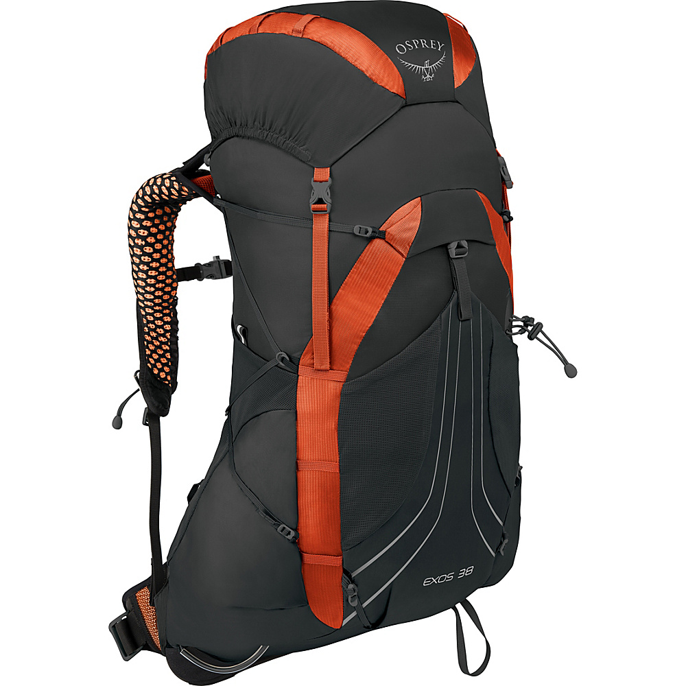 Osprey Exos 38 Hiking Backpack Blaze Black – SM - Osprey Backpacking Packs - Outdoor, Backpacking Packs